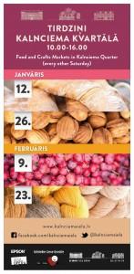 Kalnciema kvartāls kalnciema ielā / tirdziņi, 2013.gada grafiks janvarim un februarim