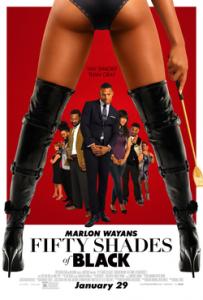 Kino mākslas filma *Fifty Shades of Black* (poster/afiša) / kinoteātris online internetā / angliski: *Fifty Shades of Gray* / krievu valodā *Пятьдесят оттенков серого*